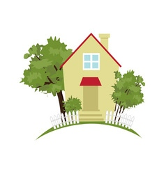 Cottage in the garden vector