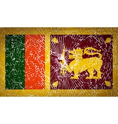 Flags sri lanka with broken glass texture vector