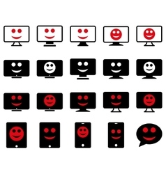 Smiles monitors mobile icons vector