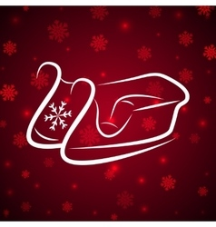 Calligraphic winter sledge on shine red background vector