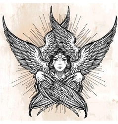 Hand drawn romantic six winged angel vector