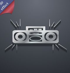 Radio cassette player icon symbol 3d style trendy vector