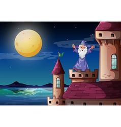 A wizard standing above a castle port vector image vector image