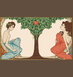 Adam and eve art-nouveau style vector