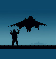 An aircraft carrier a plane with vertical vector