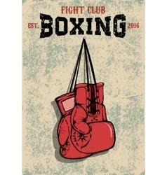Boxing club emblem Two boxing gloves in grunge vector image vector image