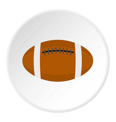 Brown leather rugby ball icon circle vector