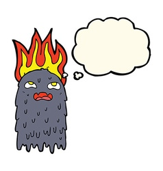Burning cartoon ghost with thought bubble vector