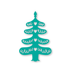 christmas tree laser cutting template vector image vector image