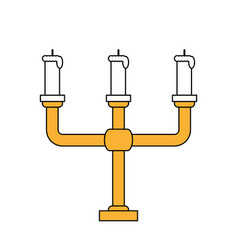 Color silhouette image candlestick with base and vector
