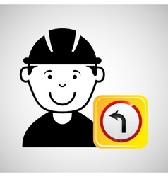 construction worker road sign graphic vector image vector image