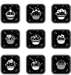 Cupcakes set icons vector image