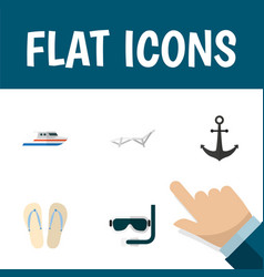 Flat icon beach set of deck chair ship hook vector