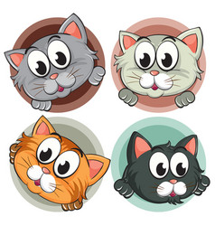 four kitty heads on round badge vector image vector image