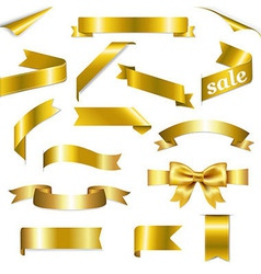 Golden Web Ribbons Set vector image vector image