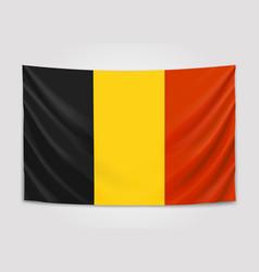 Hanging flag of belgium kingdom of belgium vector