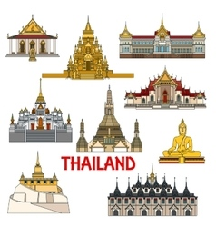 Historic buildings and sightseeings of thailand vector