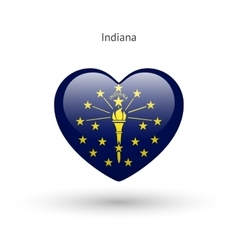 Love indiana state symbol heart flag icon vector