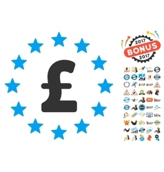 Pound Stars Icon With 2017 Year Bonus Symbols vector image