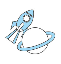 rocket space with saturn planet vector image