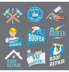 Roofer label set vector