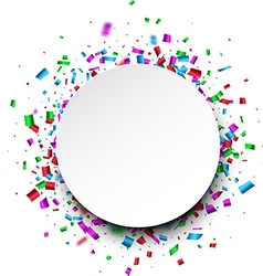 Round background with confetti vector
