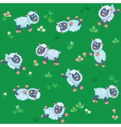 Seamless pattern of summer meadow with sheep vector image vector image