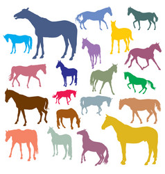 Set of colorful horses silhouettes vector