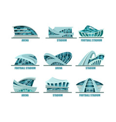 set of isolated glassware stadiums for soccer vector image vector image