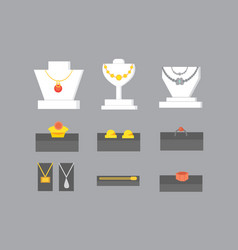 set of jewelry items gold and gemstones precious vector image