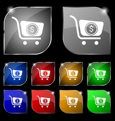shopping cart icon sign Set of ten colorful vector image