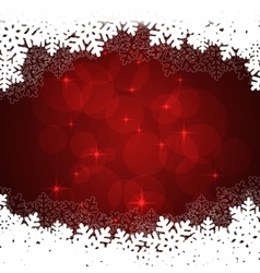 snowflakes red background vector image