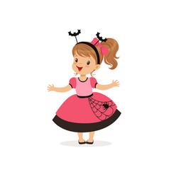 sweet little girl in halloween costume vector image vector image