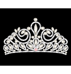 Tiara crown womens wedding with white stones vector