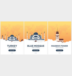 turkey istanbul time to travel set of travel vector image vector image