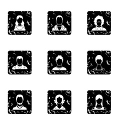 Types of avatar icons set grunge style vector image