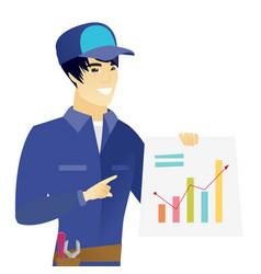 Young asian mechanic showing financial chart vector