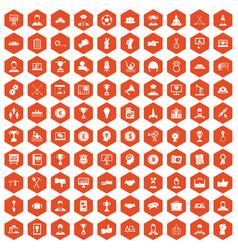 100 leadership icons hexagon orange vector