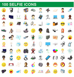 100 selfie icons set cartoon style vector