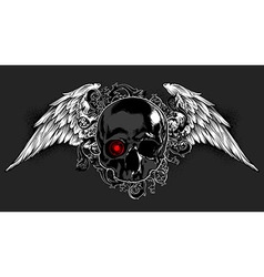 Skull decorated with wings vector image