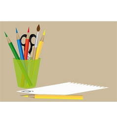 sheet of paper scissors and pencils vector image