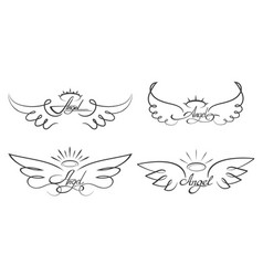 Angel wings drawing winged vector