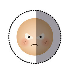 sticker human face emoticon furious expression vector image