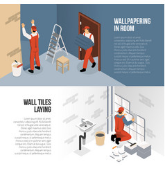 isometric renovation banners vector image
