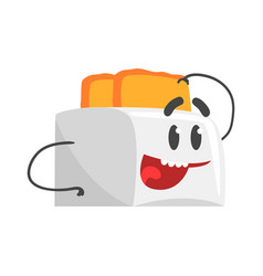 Funny toaster character with smiling face vector
