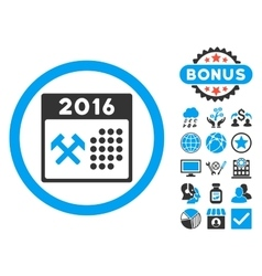 2016 Working Days Flat Icon with Bonus vector image