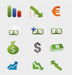 Money Finance Icons Set vector image