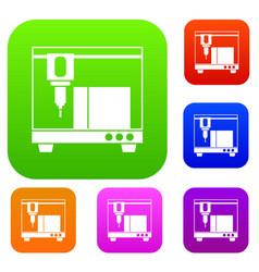 3d printer set collection vector
