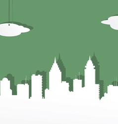 The city from white paper on a green background vector