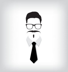 Hipster man with black tie vector